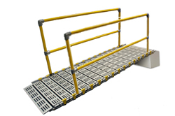 Modular access ramp with two handrails